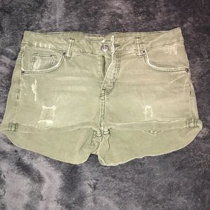 H&M green short distressed shorts